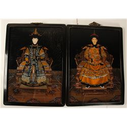 Eglomise Paintings of Emperor and Empress