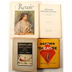 Art, Book of Currier & Ives; Renoir Abrams Art Book; Book of English Watercolors,