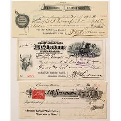 Three Different Checks for Indian Trader J.H. Sherburne