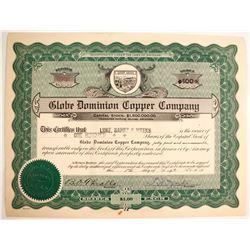 Globe Dominion Copper Co., Stock Certs.