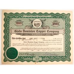 Globe Dominion Copper Co., Stock Certs.