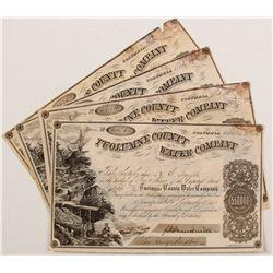 Five Tuolumne County Water Company Stock Certificates