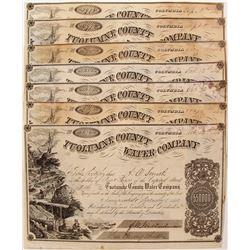 Seven Tuolumne County Water Company Stock Certificates