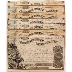 Seven Tuolumne County Water Company Stock Certificates
