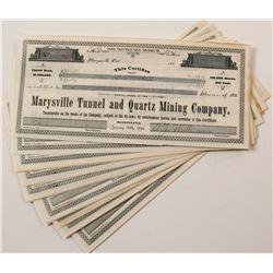 Group of Marysville Tunnel & Quartz Mining Co. Stock Certificates