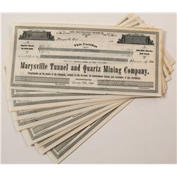 Group of Marysville Tunnel & Quartz Mining Co. Stock Certificates