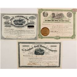 Colorado Stock Certs (3)