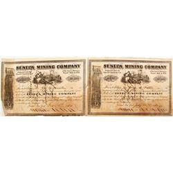 Two Seneca Mining Company Stock Certificates