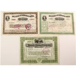 Three Different Michigan Mining Stock Certificates