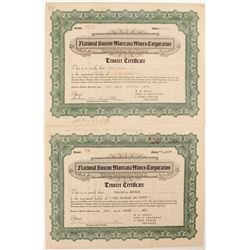 Two National Boston Montana Mines Corporation  Stock Certificates