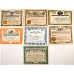 Seven Different Nevada Mining Stock Certificates
