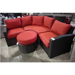 TROPEA THREE PIECE DARK BROWN  PATIO SECTIONAL WITH OTTOMAN - RED CUSHIONS