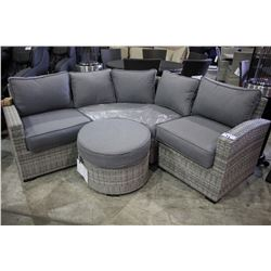 ELBA THREE PIECE LIGHT GREY PATIO SECTIONAL WITH OTTOMAN - GREY CUSHIONS