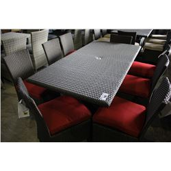 RECTANGULAR PATIO DINING TABLE WITH EIGHT CHAIRS - RED CUSHIONS