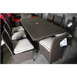 RECTANGULAR PATIO DINING TABLE WITH EIGHT CHAIRS - BEIGE CUSHIONS