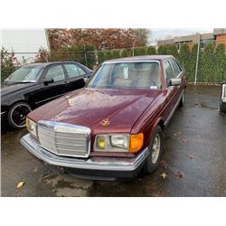 1985 MERCEDES 500 SEL, RED, 4DRSD, GAS, AUTOMATIC, VIN#WDBCA37D5FA135920, 165,609KMS,