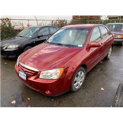 2006 KIA SPECTRA LX, RED, 4DRSD, GAS, AUTOMATIC, VIN#KNAFE121165235944, DEAD BATTERY,