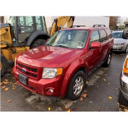 2008 FORD ESCAPE, 4DRSW, RED, V6, GAS, AUTOMATIC, VIN#1FMCU94158KA50431, 261,175KMS,