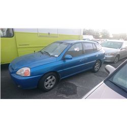 2003 KIA RIO, BLUE, 4DRSW, GAS, AUTOMATIC, *NO KEYS, NOT ROADWORTHY MUST TOW*,