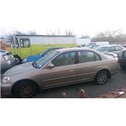2002 ACURA 1.7EL, BROWN, 4DRSD, GAS, AUTOMATIC, *NO KEYS, NOT ROADWORTHY MUST TOW*,