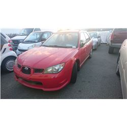 2006 SUBARU IMPREZA, RED, 4DRSW, GAS, MANUAL, *NO KEYS, NOT ROADWORTHY MUST TOW*,