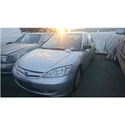 2005 HONDA CIVIC, GREY, 4DRSD, GAS, AUTOMATIC, *NO KEYS, NOT ROADWORTHY MUST TOW*,