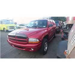 1998 DODGE DURANGO, RED, 4DRSW, GAS, AUTOMATIC, VIN#1B4HS28Y6WF111724, 269,106KMS,