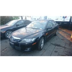 2006 MAZDA 6, BLACK, 4DRSD, GAS, AUTOMATIC, *HAS KEYS, NOT ROADWORTHY MUST TOW*,