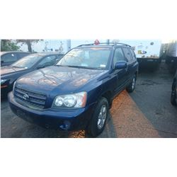 2002 TOYOTA HIGHLANDER, BLUE, GAS, AUTOMATIC, *NO KEYS, NOT ROADWORTHY MUST TOW*,