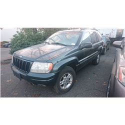 2000 JEEP GRAND CHEROKEE LTD, GREEN, GAS, AUTOMATIC, *NO KEYS, NOT ROADWORTHY MUST TOW*,