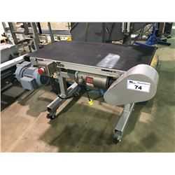 "DORNER 2100 SERIES 36"" X 18"" RUBBER AND STAINLESS CONVEYER WITH EMERGENCY STOP AND MOTOR"