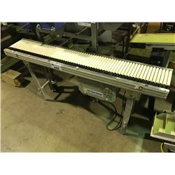 "SANKI CLEAN CONVEYER 55"" X 10"" STAINLESS AND PLASTIC CONVEYER WITH MOTOR AND SPEED CONTROL"