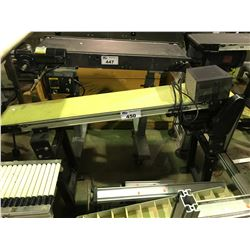 """DORNER 2100 SERIES 47"""" X 8"""" RUBBER AND METAL ADJUSTABLE CONVEYER WITH MOTOR AND SPEED CONTROL"""