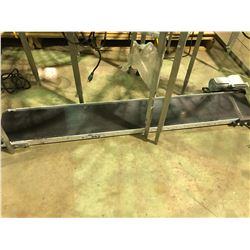 "CUSTOM BUILT 96"" X 14"" INDUSTRIAL STAINLESS AND RUBBER CONVEYER WITH MOTOR AND PLEXI GLASS COVERS"