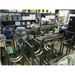 7 CART STAINLESS STEEL MOBILE TRANSPORT SYSTEM WITH 3 STAINLESS STEEL TRAYS