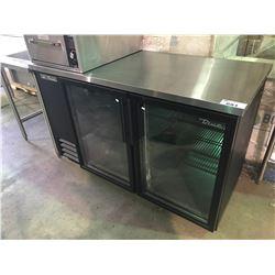 TRUE MODEL TBB-2G-LD 2 DOOR GLASS FRONT STAINLESS STEEL PREP COUNTER
