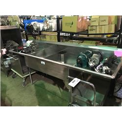 "STAINLESS STEEL 100"" X 26"" DOUBLE SINK"