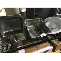 SHELF LOT OF 2 STAINLESS SINKS, 1 BATHROOM SINK