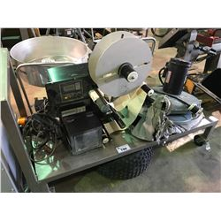 STAINLESS STEEL MOBILE CART WITH ZEBRA 170PAX3 LABEL PRINTER AND BARREL TOP DUST COLLECTOR