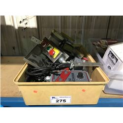 BIN OF ASSORTED CONTROLS, GAUGES AND MACHINE PARTS
