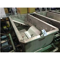 CUSTOM MADE 34WX72LX21D MOBILE LIFTABLE DOUGH EXTRUDER/TRANSPORT BIN WITH SEW-EURODRIVE AGITATOR