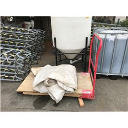 LARGE RED AND WOOD WAREHOUSE CART, INCLUDES WHITE TARP