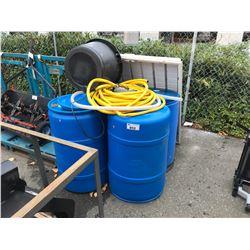 LOT OF 4 BARRELS, BLACK TUB, PLASTIC BIN