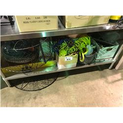 ASSORTED LOT OF ROPES, PRAWN TRAPS, OUTDOOR GEAR