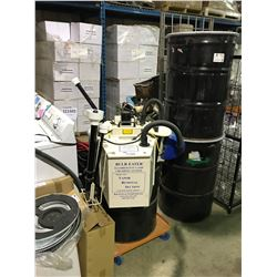 AIR CYCLE BULB EATER FLUORESCENT LAMP CRUSHING SYSTEM WITH 2 EXTRA STORAGE BARRELS & CART