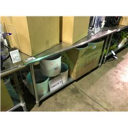 """STAINLESS STEEL 72"""" X 30"""" PREPARATION TABLE"""