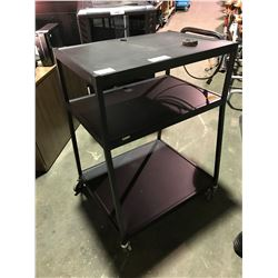 BLACK 3 TIER AV CART (1 BROKEN WHEEL)