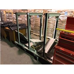 3 GREEN METAL INDUSTRIAL MOBILE DISPLAY SHELVING WITH SHELVES AND HARDWARE