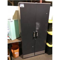 """2 BLACK COSCO  APPROX 72"""" X 36"""" X 16""""D 2 DOOR CABINETS"""