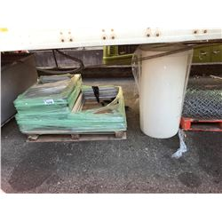 PALLET OF WINDOWS AND PLASTIC STORAGE TANK